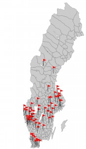 Kommuner som har tagit del av PYC-utbildningarna. PYC-handledare har även utbildats i Norge.